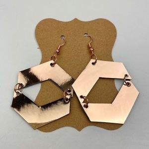 Faux Leather Rose Gold Metallic Earrings Handmade